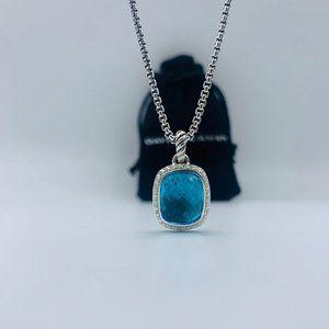David Yurman Noblesse Blue Topaz Pendant Necklace